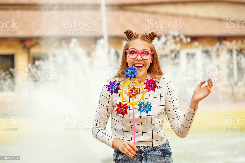 Girl teenage Spinner Array Tool portrait Lizenzfreies stock-foto
