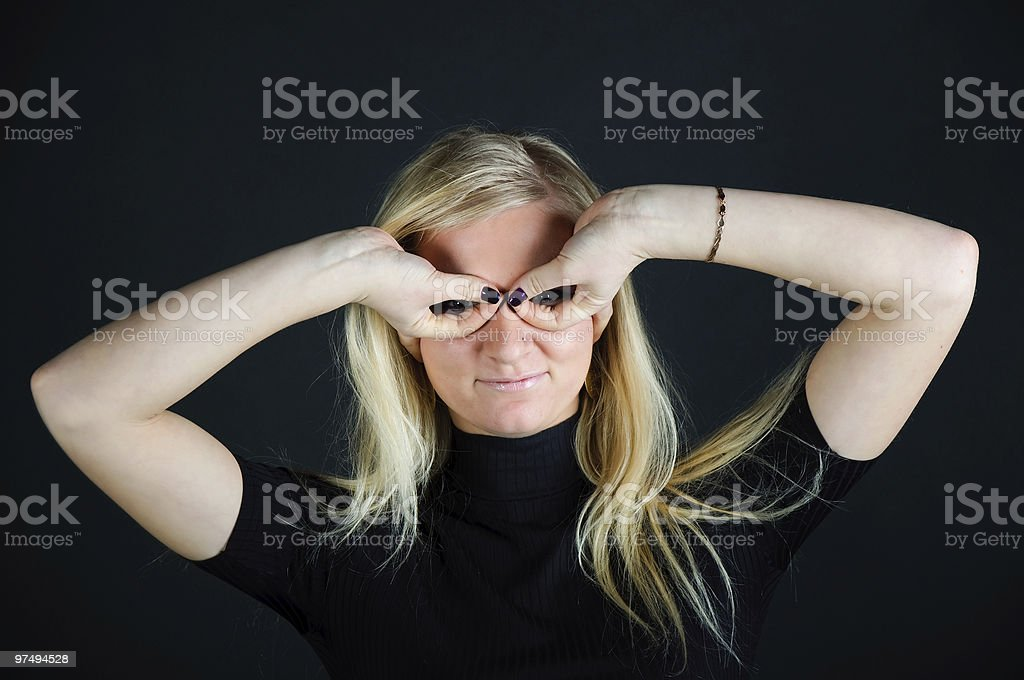 girl the pilot. Gesture hands royalty-free stock photo