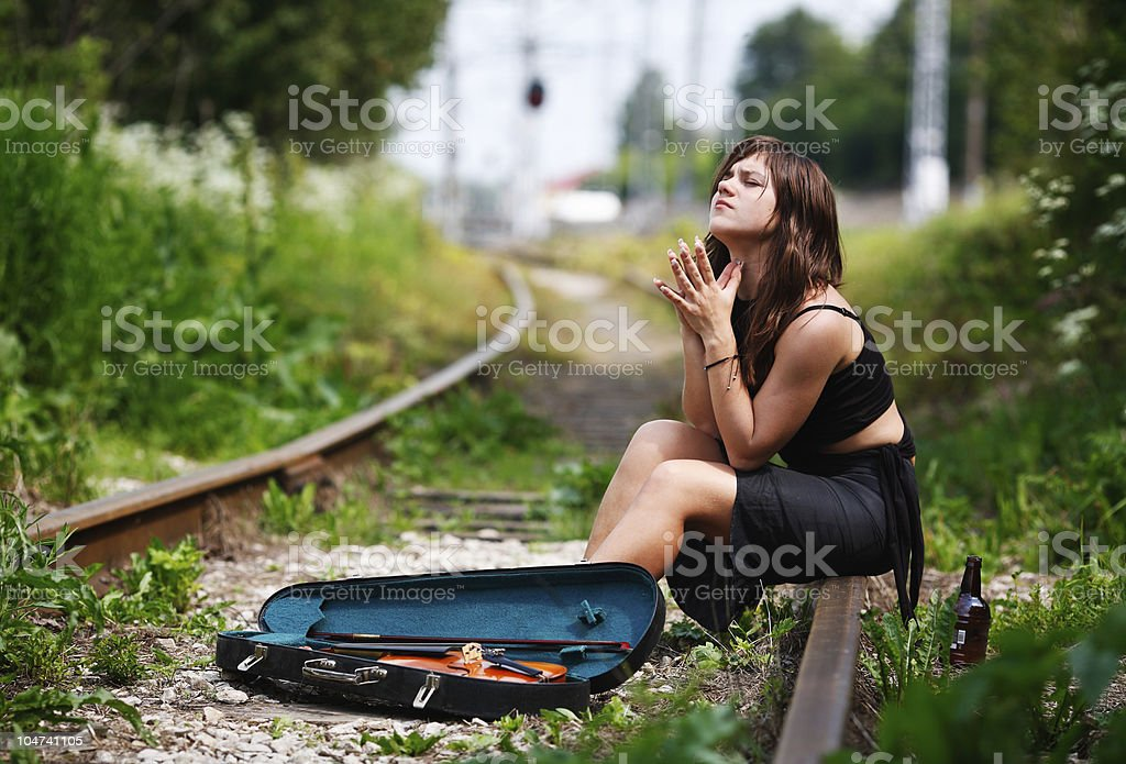Girl - the violinist has lost talent stock photo