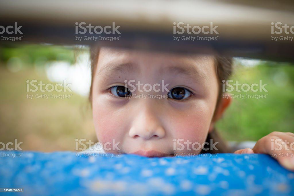 Girl to peep royalty-free stock photo