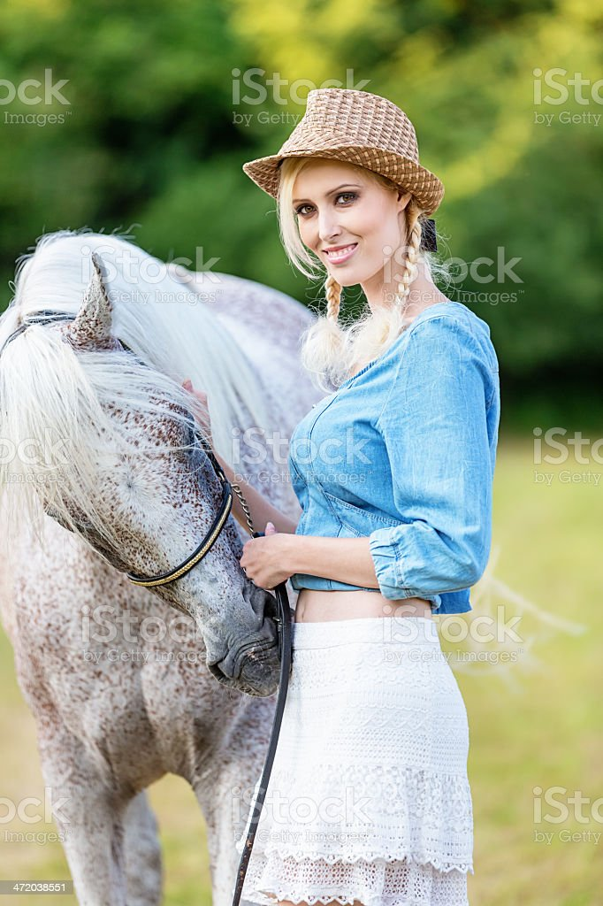 Girl together with White Horse, Summer Day royalty-free stock photo