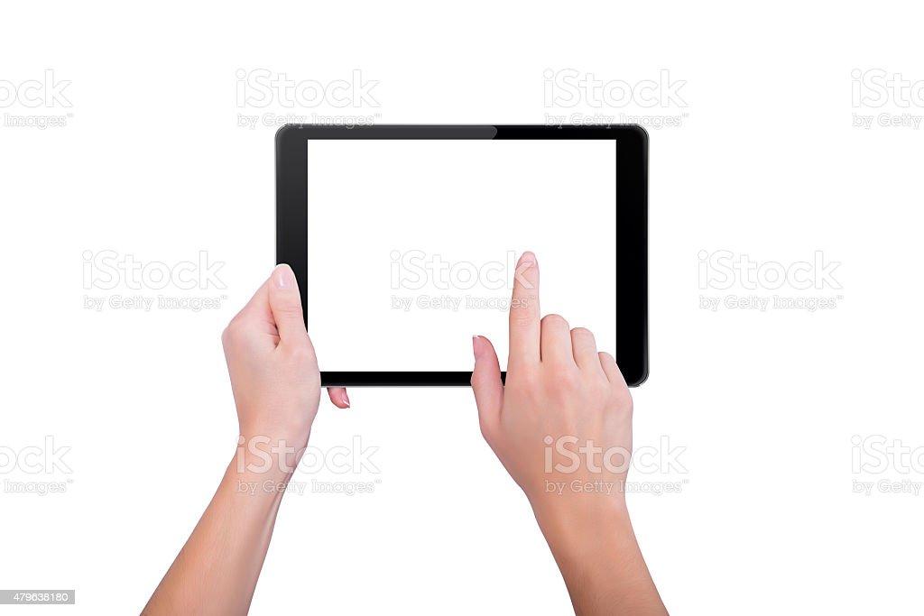 Mädchen berühren mit einem finger auf dem tablet – Foto