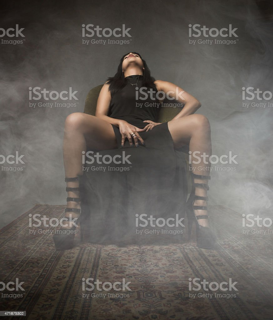 girl touching for pleasure stock photo