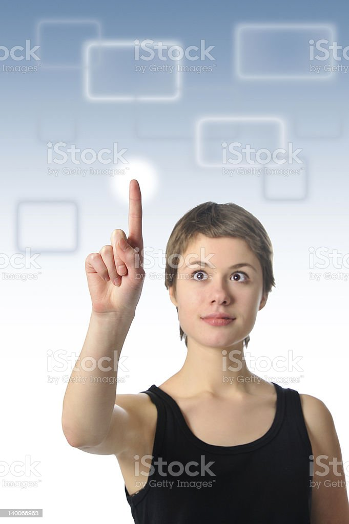 girl touching screen royalty-free stock photo