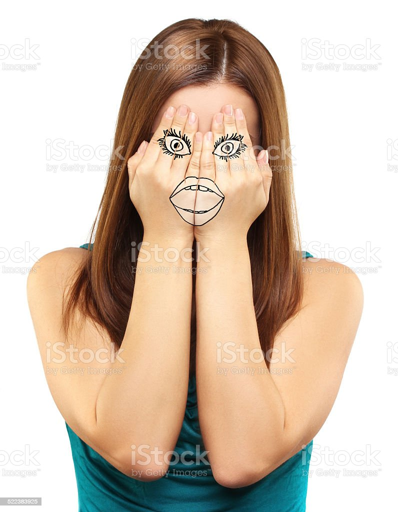 Girl tries to hide his emotions. stock photo