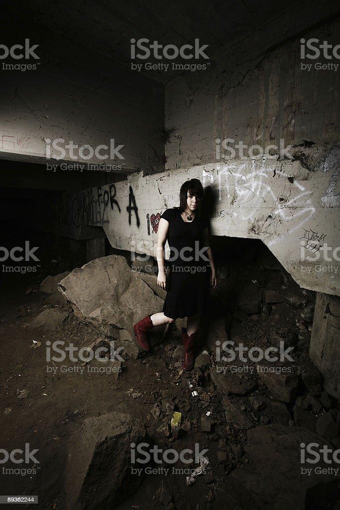 Girl under a Bridge stock photo