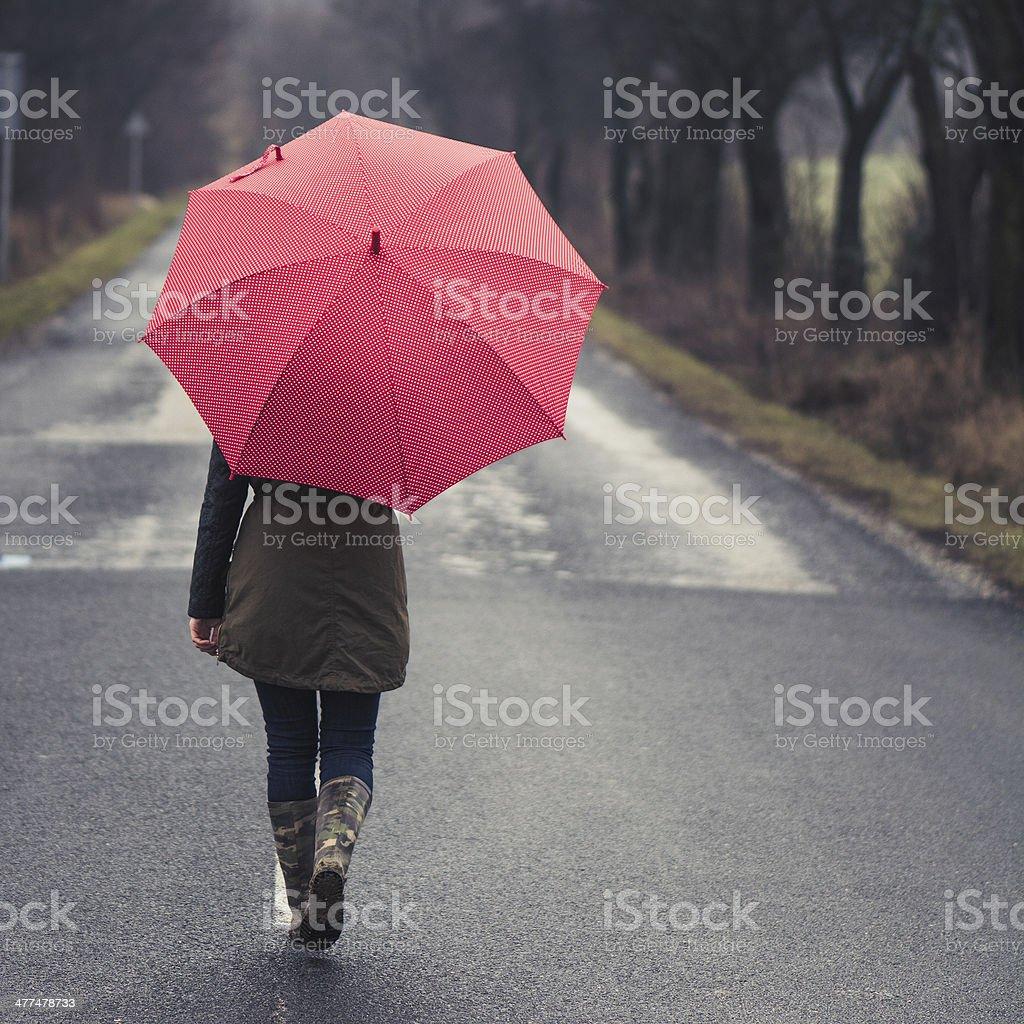 Girl under Rain stock photo