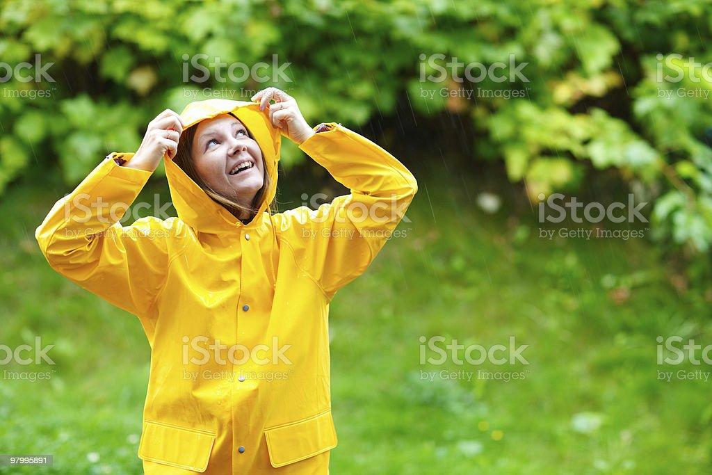 Girl under rain royalty-free stock photo