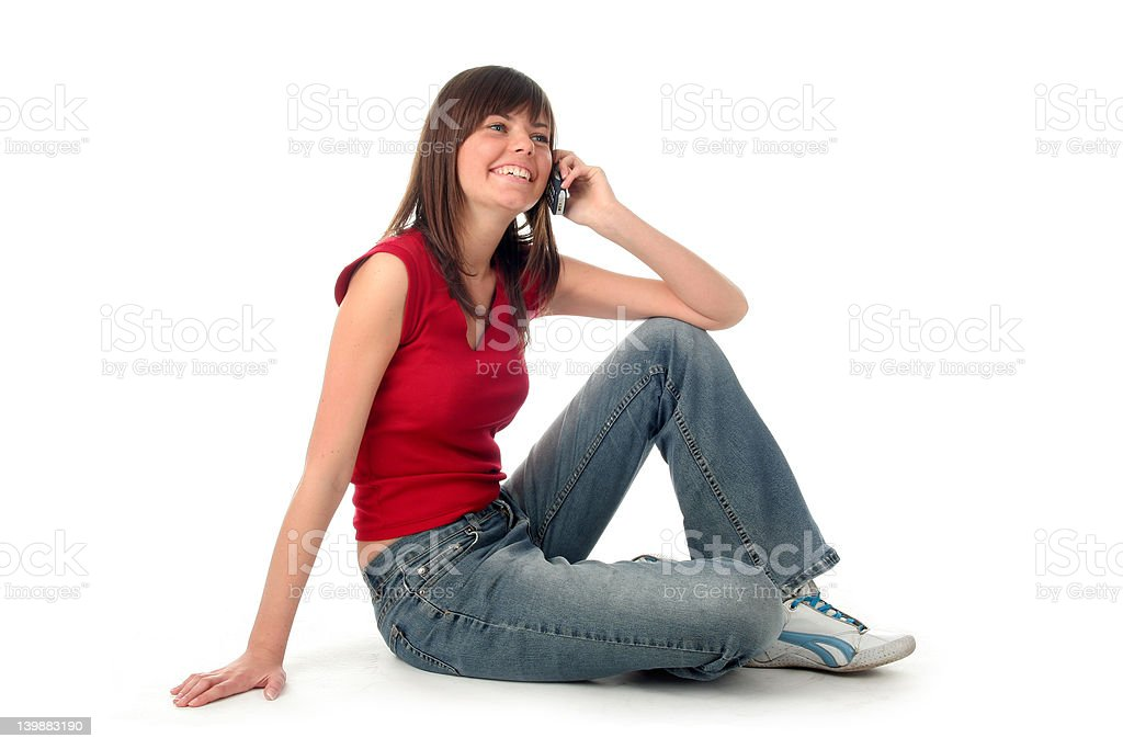 Girl using a mobile phone royalty-free stock photo