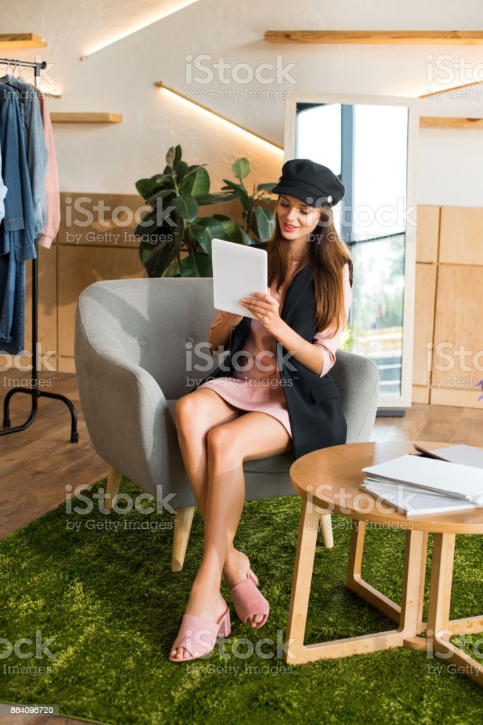 girl using digital tablet royalty-free stock photo