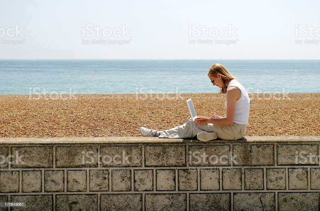Girl using laptop royalty-free stock photo