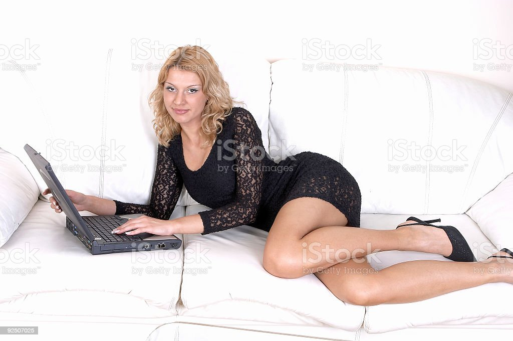 Girl using laptop -Relaxed Work 06 royalty-free stock photo