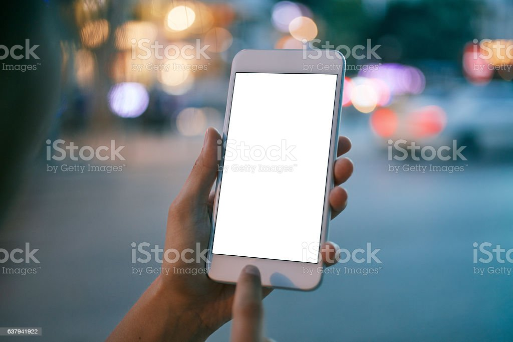 Girl using smart phone stock photo