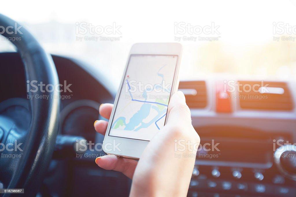 Girl using smartphone stock photo