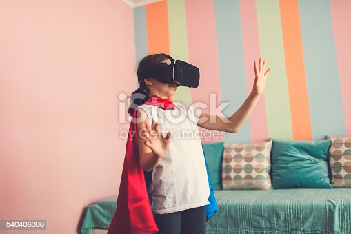 1019302738istockphoto Girl Using Virtual Reality Glasses In Her Room. 540406306