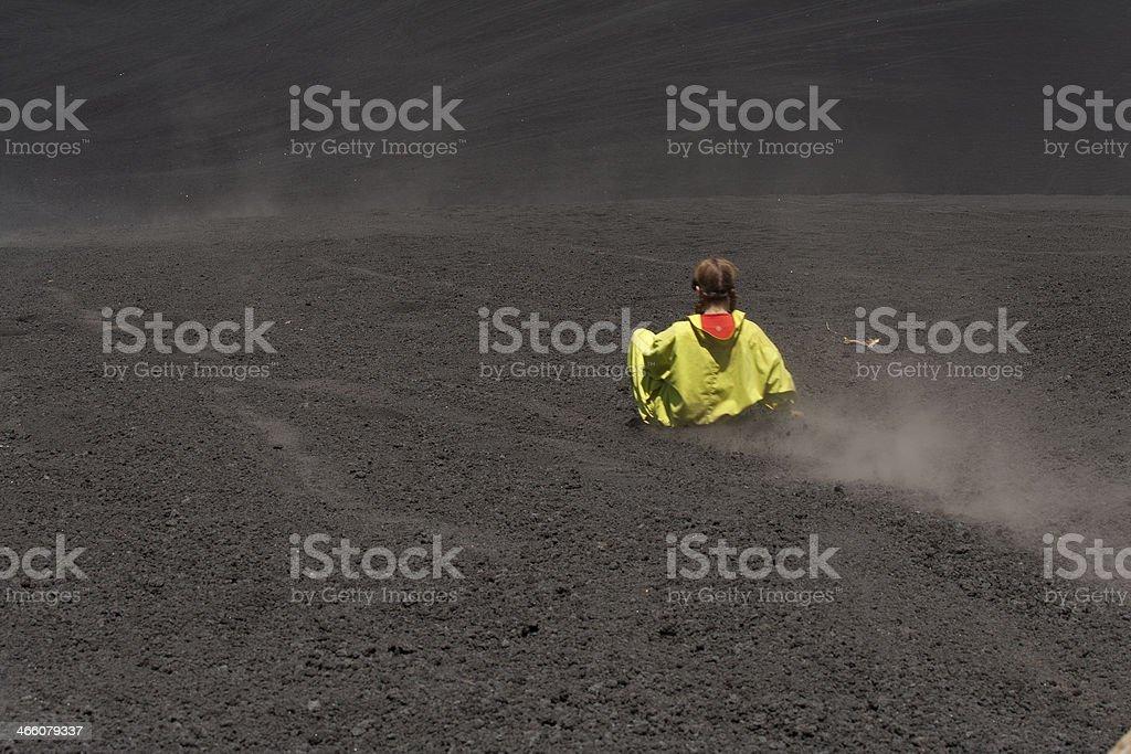 Girl Volcano Boarding stock photo