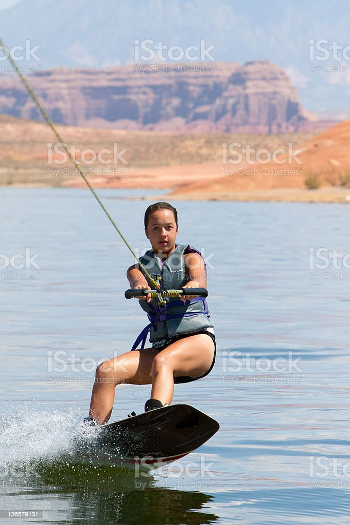 Girl Wakeboarder at Lake Powell royalty-free stock photo