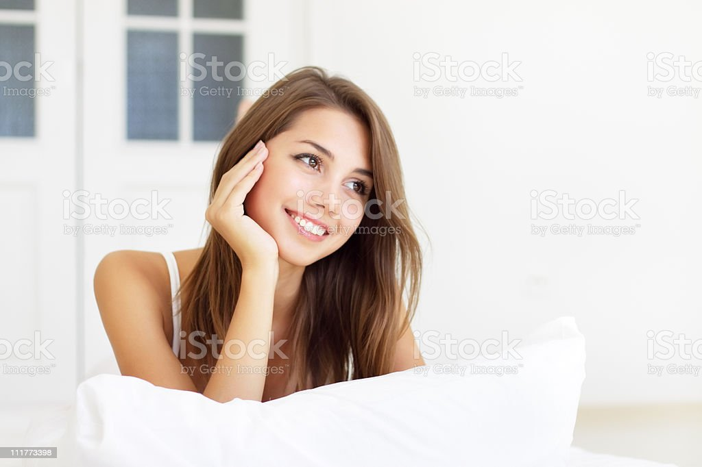 girl wakes up in the morning royalty-free stock photo