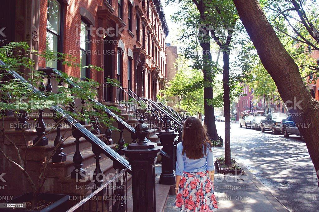 Girl walk at the Greenwich village stock photo