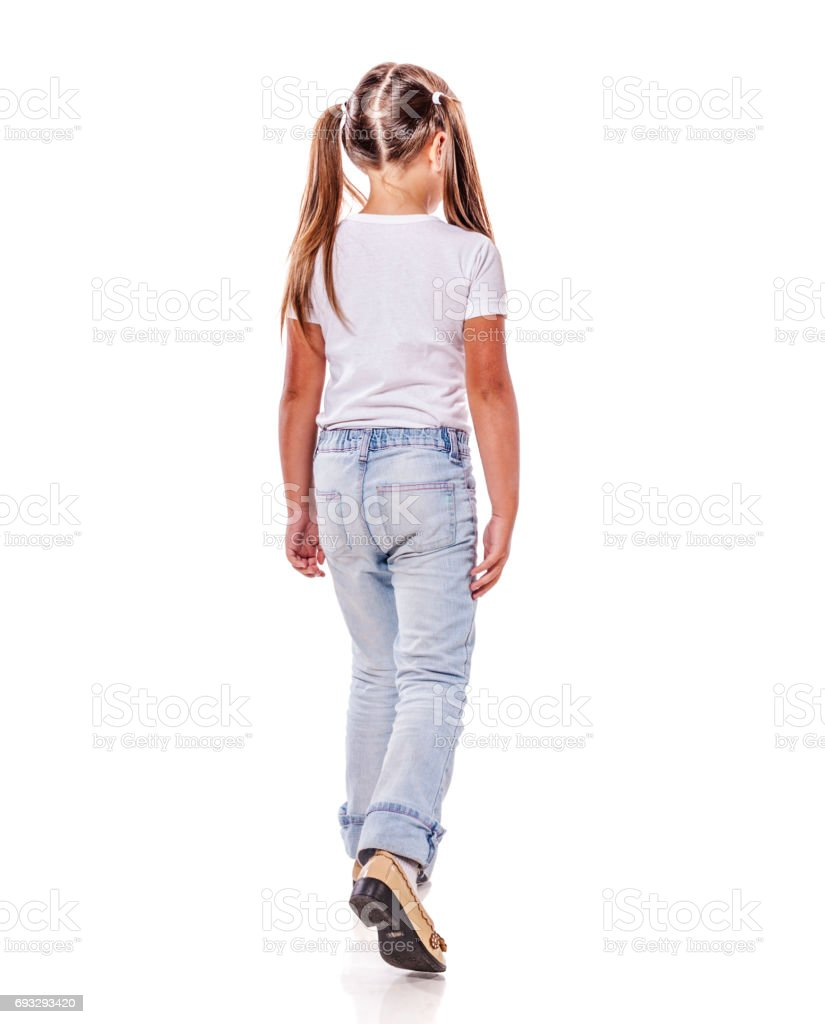 Girl walk away stock photo