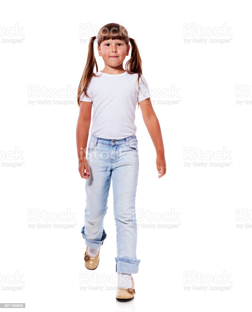 Girl walk forward stock photo
