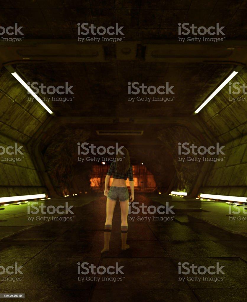 Girl walking alone in sci-fi corridor stock photo
