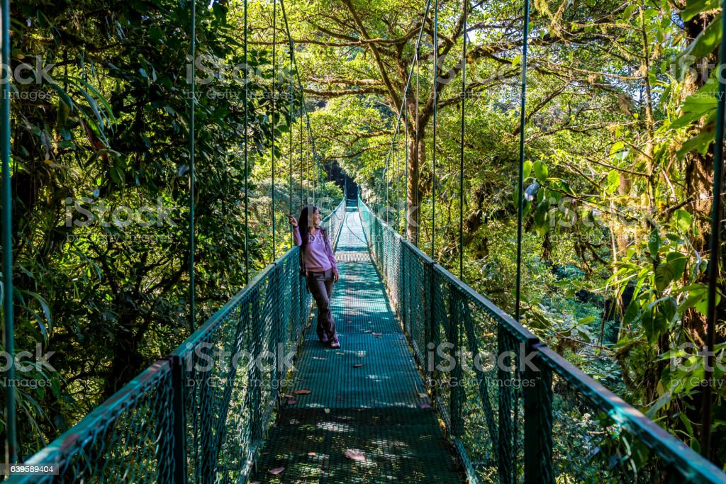 Girl walking on hanging bridge in cloudforest - Monteverde stock photo
