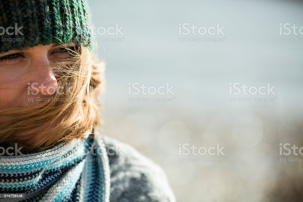 girl walking on the coast stock photo