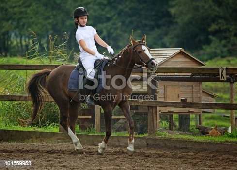 girl warming up for horse competition