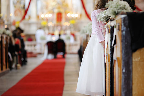 girl watching a wedding ceremony - carpet runner stock photos and pictures