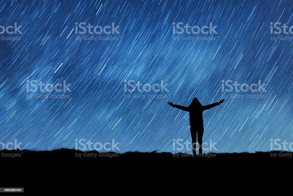 Girl watching the stars. stock photo