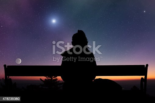 Girl watching the stars. Stars and galaxy are my astronomy work.