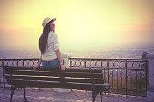 Girl watching the sunset