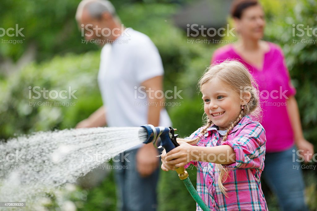 Girl watering plants in garden, family in background stock photo