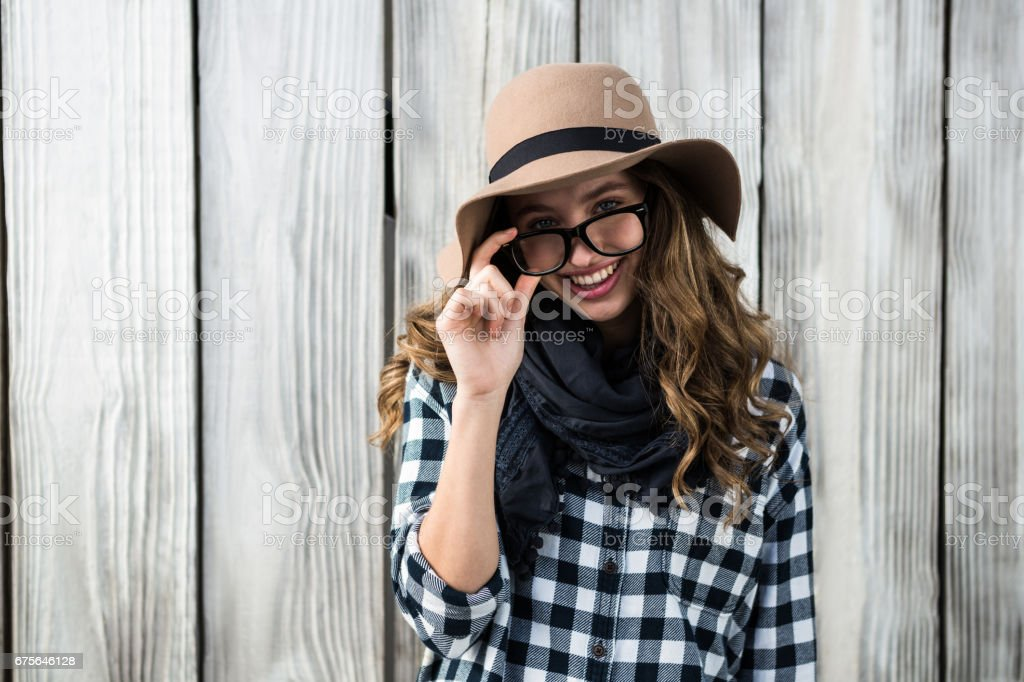 Girl wearing a hat royalty-free stock photo
