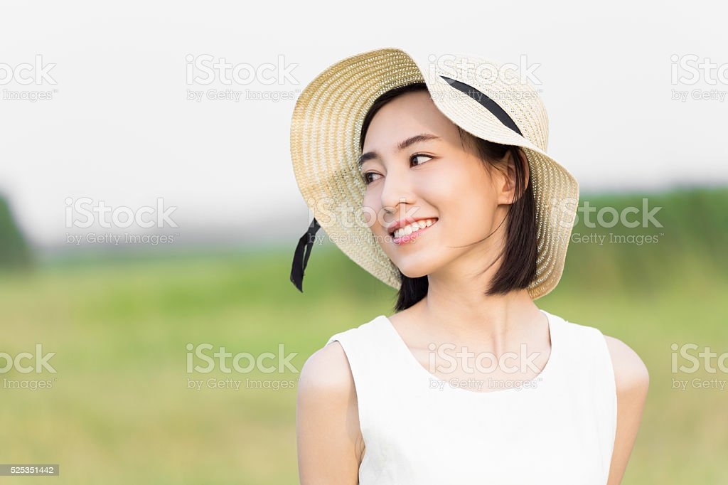 girl wearing a white dress stock photo