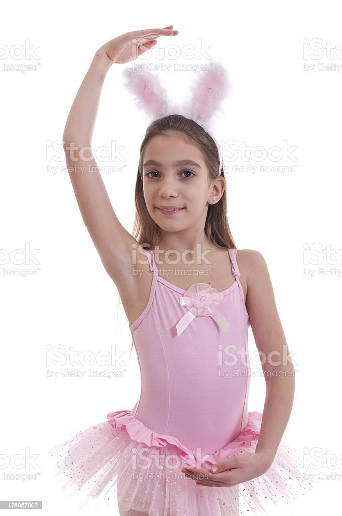 Girl wearing bunny ears on white royalty-free stock photo