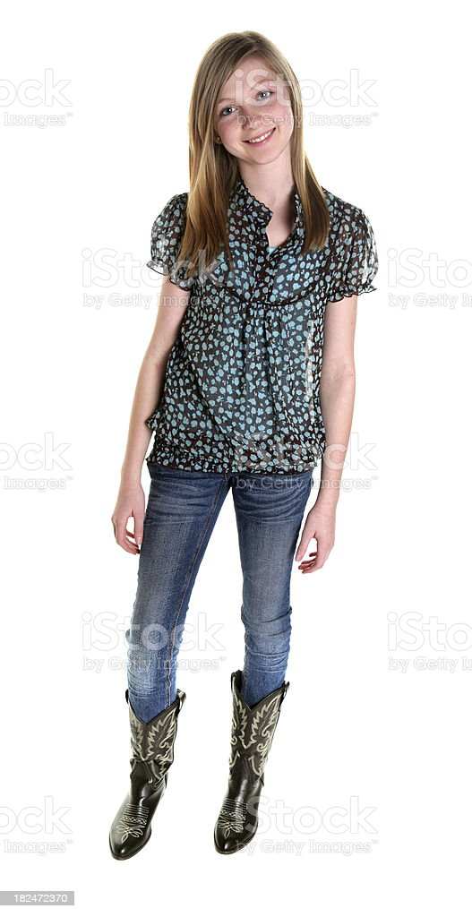 Girl Wearing Cowboy Boots Stock Photo More Pictures Of 14 15 Years