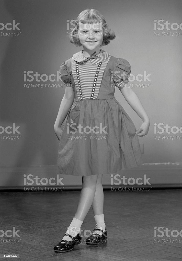 Girl (6-7) wearing dress, portrait royalty-free stock photo