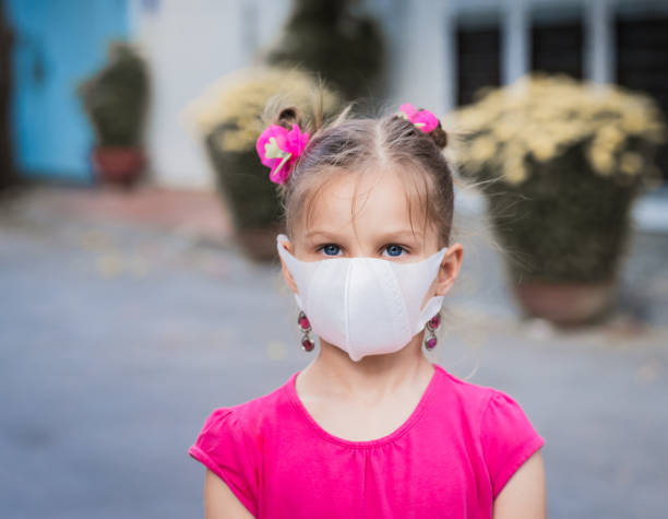 Girl wearing facial disposable mask. Virus protection