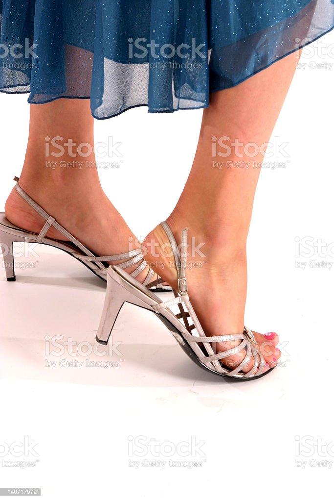 Girl wearing high heel shoes stock photo