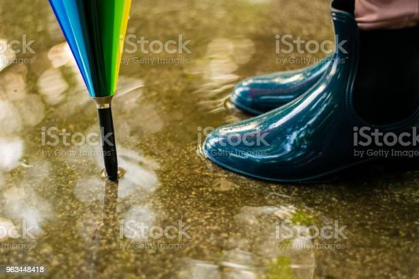 Dziewczyna Ubrana W Gumowe Buty I Kolorowy Parasol - zdjęcia stockowe i więcej obrazów But z cholewką