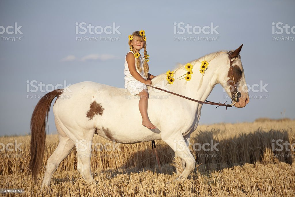 Girl Wearing Summer Dress and Sunflowers Riding Horse stock photo