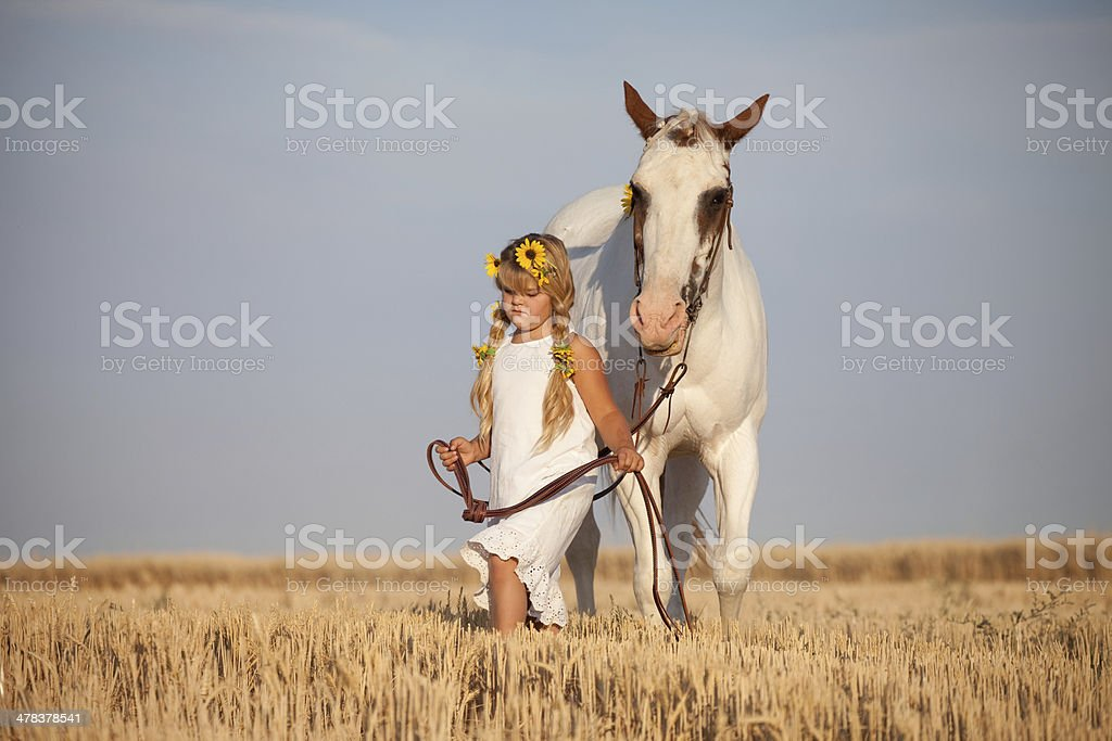 Girl Wearing Summer Dress and Sunflowers Walking Horse royalty-free stock photo