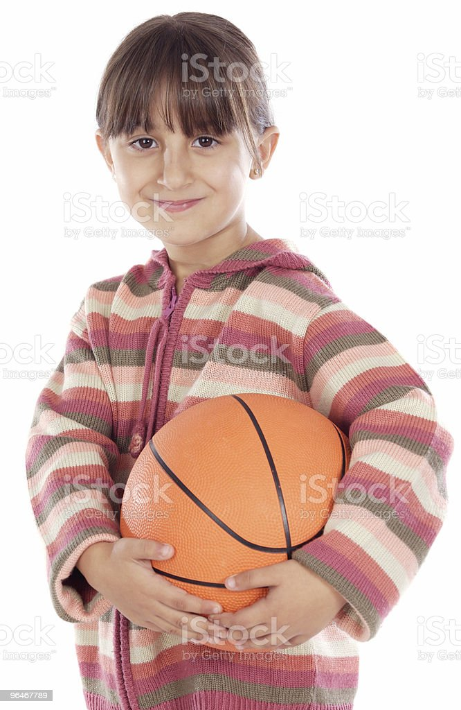 girl whit ball of basketball royalty-free stock photo
