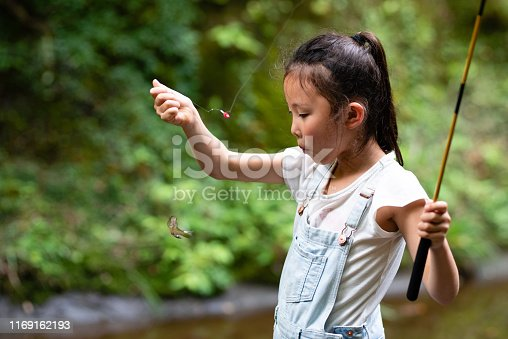 Girl who caught a small fish