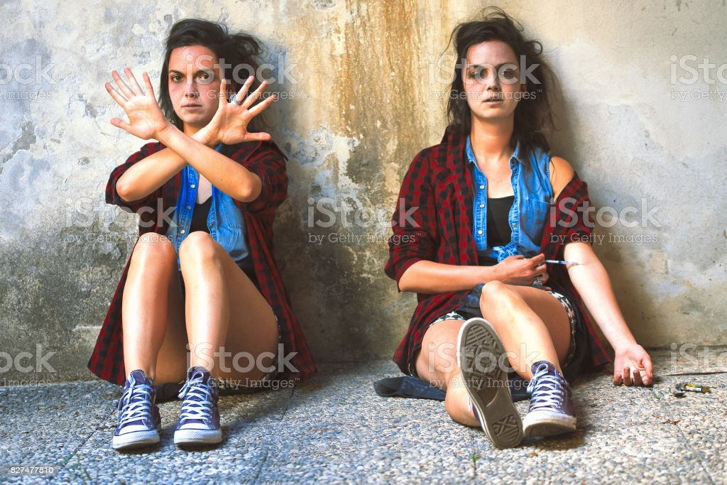 Girl who is drugged with heroin and the same girl she wants to quit stock photo