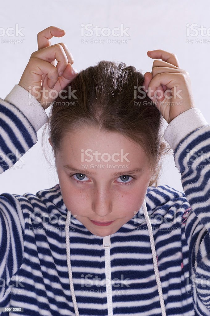 Girl who makes faces royalty-free stock photo
