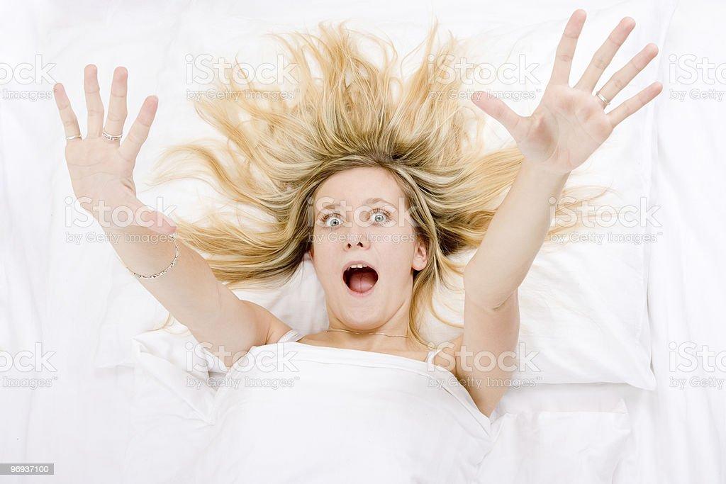 Girl wide awake royalty-free stock photo