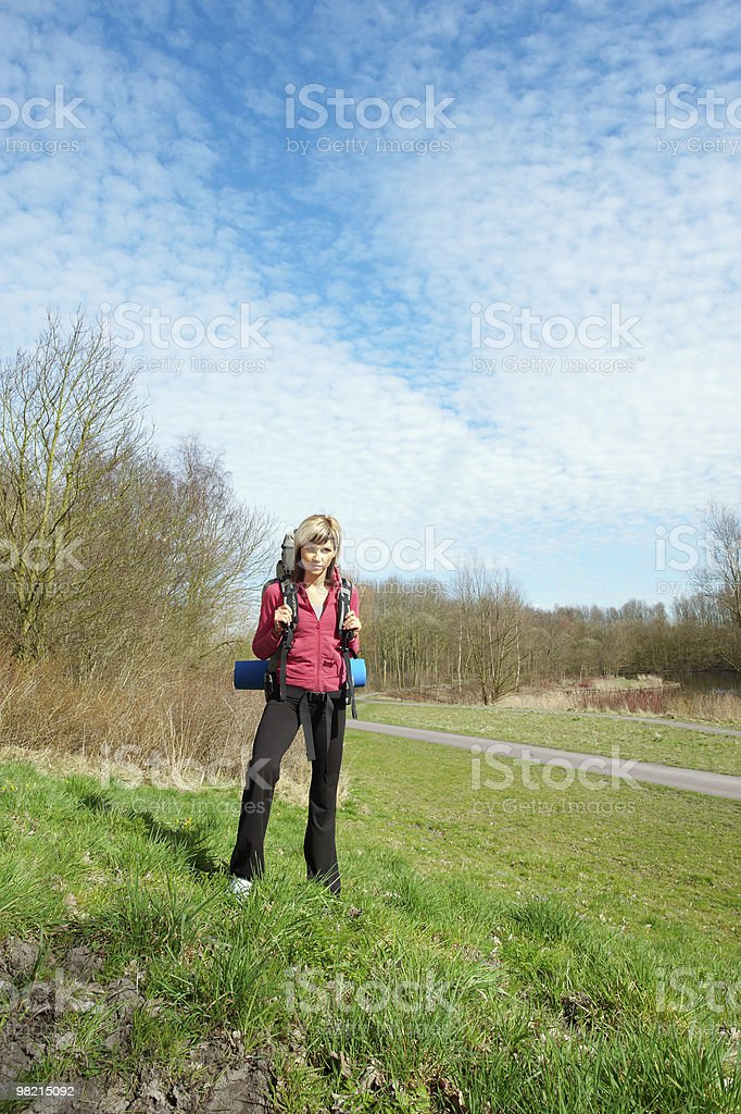 Girl with a Backpack royalty-free stock photo